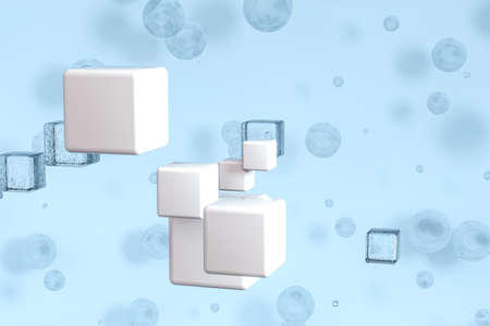 3d rendering, drop of water with light blue background. Computer digital background. Banco de Imagens