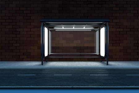 rendu 3D, panneau publicitaire sur le bord de la route. Image numérique de l'ordinateur.