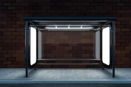 renderowania 3D, billboard reklamowy na poboczu drogi. Obraz cyfrowy komputera. Zdjęcie Seryjne
