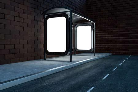 Rendering 3D, cartellone pubblicitario sul lato della strada. Immagine digitale del computer. Archivio Fotografico