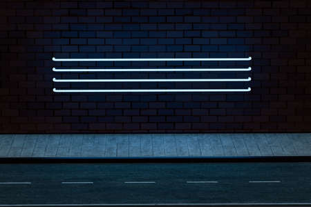 The glowing neon with brick wall background, 3d rendering. Magic color and retro style.