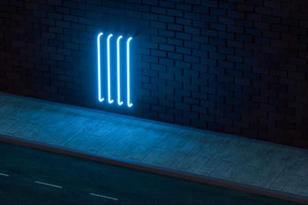The glowing neon with brick wall background, 3d rendering. Magic color and retro style. Stockfoto - 123145880