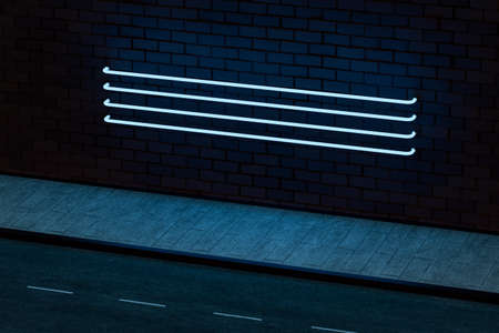 The glowing neon with brick wall background, 3d rendering. Magic color and retro style. Stockfoto - 123145883