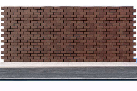 The brick wall and pitch street, 3d rendering. Retro style background.