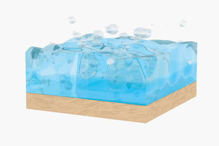Light blue water wave cube, with creative spheres bubble, 3d rendering. Concept of water resources