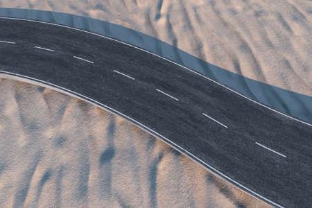 The waving road in the desert, 3d rendering. Computer digital background. Banco de Imagens