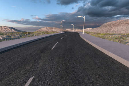 The waving road in the deserted suburbs, 3d rendering. Computer digital background.