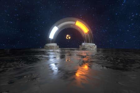 Rendering 3d, anello meccanico scientifico nello spazio esterno. Sfondo digitale del computer. Archivio Fotografico
