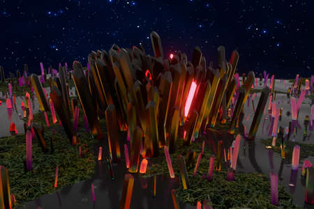 A cluster of precision-cut magic crystal, science fiction and magic theme, 3d rendering. Computer digital background.