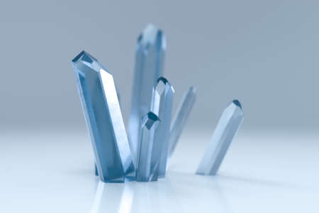 A cluster of blue magic crystal gather together, 3d rendering. Stockfoto
