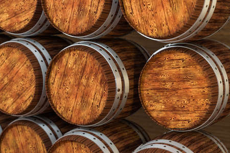 Wooden winery barrel with warm color background, 3d rendering. Stock Photo