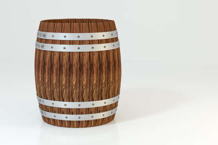 Wooden winery barrel with white background, 3d rendering.