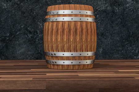 Wooden winery barrel with dark rust background, 3d rendering.