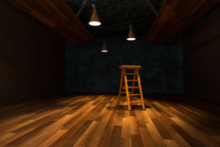 Wooden cellar with ladder and ceiling lamp inside, vintage warehouse, 3d rendering.
