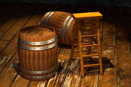Wooden cellar with barrels and ladder inside, vintage beverage warehouse, 3d rendering.