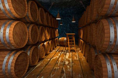 Wooden cellar with barrels inside, vintage beverage warehouse, 3d rendering.