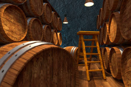 Wooden cellar with barrels inside, vintage beverage warehouse, 3d rendering.