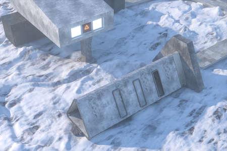 Fantasy concrete tunnel building, triangle tunnel. 3d rendering.Computer digital background. Archivio Fotografico - 124512859