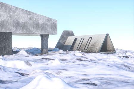 Fantasy concrete tunnel building, triangle tunnel. 3d rendering.Computer digital background. Archivio Fotografico - 124441280