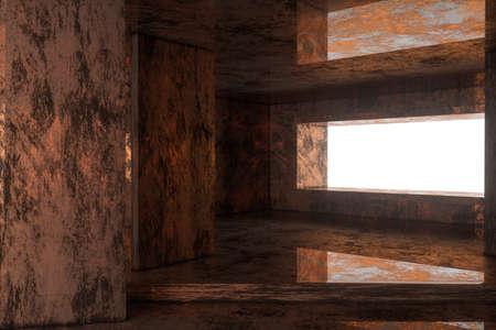 Habitación oxidada vacía con luz que entra desde la ventana, representación 3d. Fondo digital de computadora.