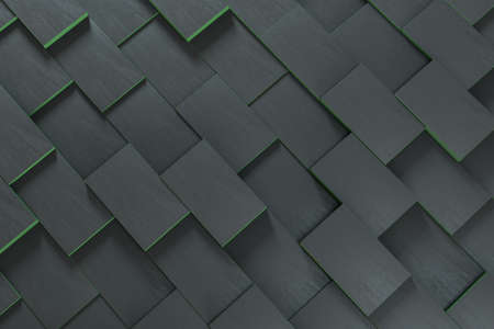 Dark undulating cubes with copy space