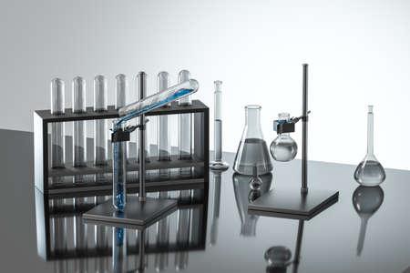 Gradilla y matraces para tubos de ensayo de laboratorio