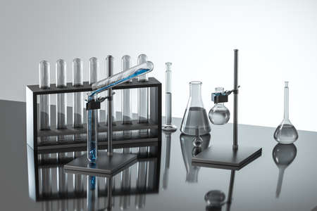 Laboratory test tube rack and flasks Stockfoto