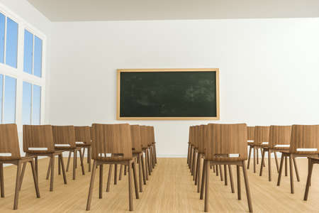 A classroom with chairs inside and a blackboard in the front of the room, 3d rendering. Computer digital drawing. Stock Photo