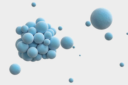 Blue spheres with the textured surface, random distributed, 3d rendering. Computer digital drawing.