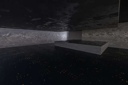 The dark abandoned room, creative architectural construction, 3d rendering. Computer digital drawing.
