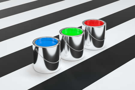 The buckets of colorful paint with white background, 3d rendering. Computer digital drawing. Stock Photo