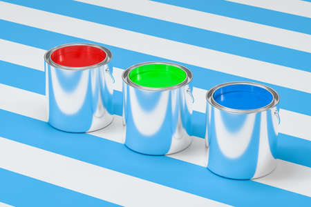 The buckets of colorful paint with white background, 3d rendering. 3d rendering. Computer digital drawing. Stock Photo