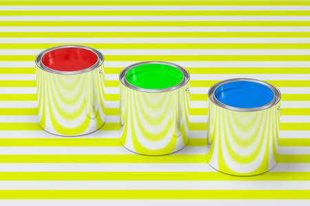 The buckets of colorful paint with white background, 3d rendering. Computer digital drawing. Stock Photo - 127752217
