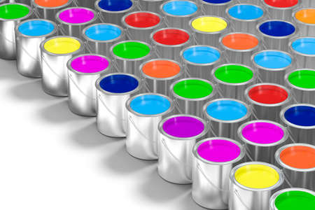 The buckets of colorful paint with white background, 3d rendering. Computer digital drawing. Archivio Fotografico