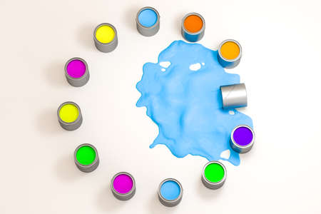 Cans of paint and blue paint spilled on the floor, 3d rendering.