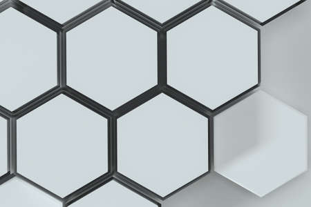 White hexagonal platforms connected together background, 3d rendering. Computer digital drawing.