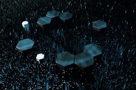 Dark hexagonal platforms connected together background, 3d rendering. Computer digital drawing.