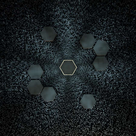 Hexagon cube with dark background,  3d rendering.