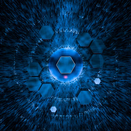 Hexagon cube with dark background, surrounded by glowing lines, 3d rendering.
