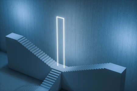 The stairway in the dark basement with glowing lines, 3d rendering. Computer digital drawing.
