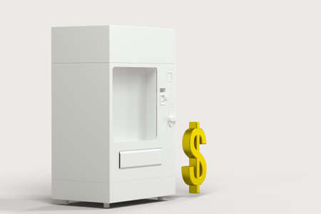 The white model of vending machine and money model, 3d rendering. Computer digital drawing.