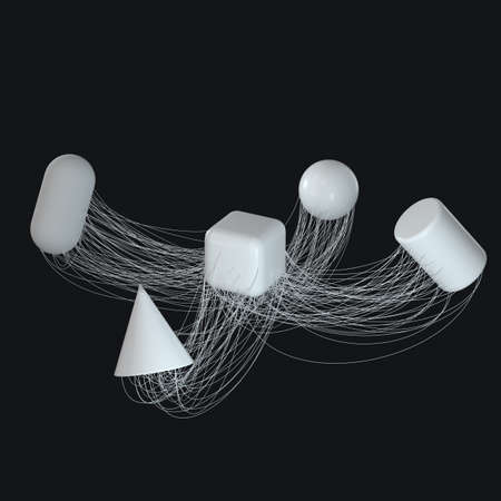 Connection lines with creative geometries, 3d rendering. Computer digital drawing.