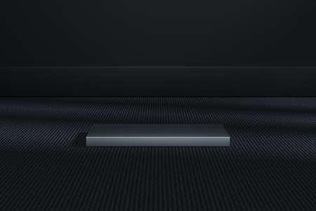 The metal cubic platform in the dark room, 3d rendering. Computer digital drawing. Фото со стока