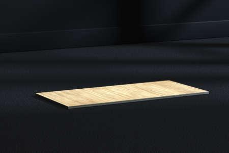 The wooden cubic platform in the dark room, 3d rendering. Computer digital drawing.