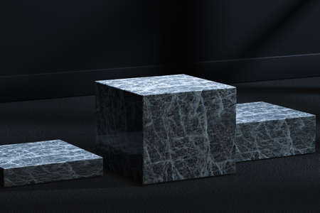 The marble cubic platform in the dark room, 3d rendering. Computer digital drawing. Фото со стока