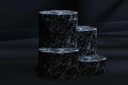 The marble cylinder platform in the dark room, 3d rendering. Computer digital drawing.