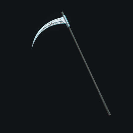 The terrible scythe with dark background, 3d rendering. Computer digital drawing.