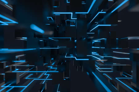 Blue cyber space with crossed glowing lines, 3d rendering. Computer digital drawing.