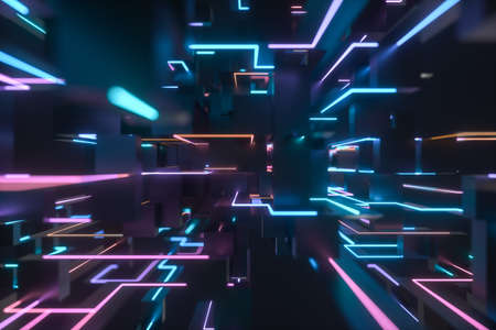 Colorful cyber space with crossed glowing lines, 3d rendering. Computer digital drawing.