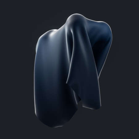 Abstract fabric shapes with dark background, 3d rendering. Computer digital drawing.